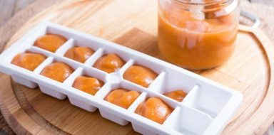 A good way to store homemade baby food is in ice trays.