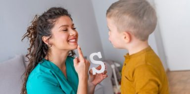 A child getting speech therapy.